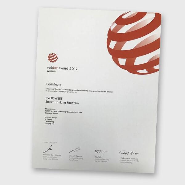 Petkit Eversweet - RedDot Award 2017 Certificate (Product Info)