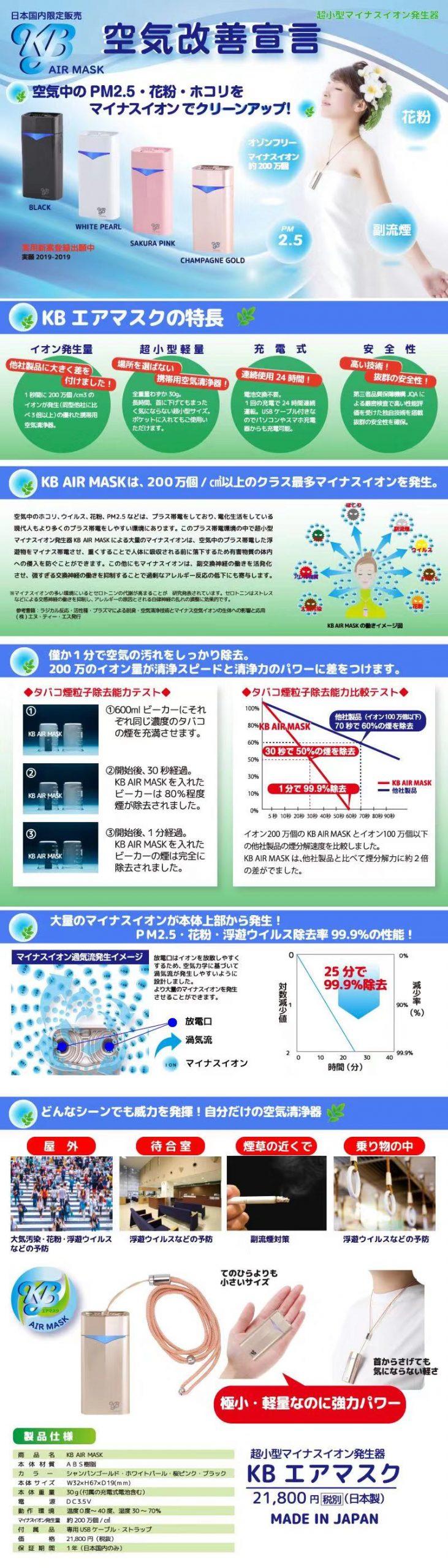 日本 KB Air Mask 隨身空氣清淨機 (KB Air Mask Portable Air Purifier)